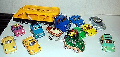 The Chevron Cars with Faces 1998 11pc Lot Gas Station Car Carrier Truck Trailer