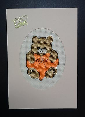 "Cross Stitch Card-""With Love""- (Completed card)"