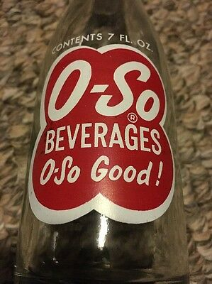 Vintage O-So 7oz Soda Pop Glass Bottle General Beverages Cleveland OH O-So Good!