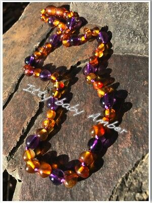 Certified BALTIC Amber Necklace for Toddler/baby child - COGNAC/AMETHYST