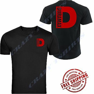 NEW RED DURAMAX CHEVROLET CHEVY Chest BLACK T-SHIRT TEE S-5XL FRONT & BACK