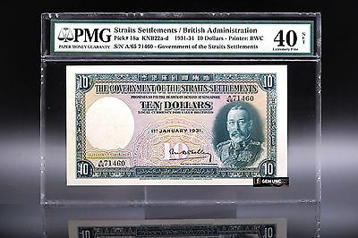 Rare 1931 Straits Settlements King George V $10 PMG 40 Net P-18a Extreme Fine