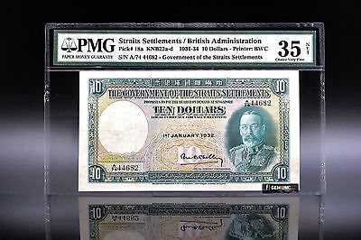 Rare Year 1932 Straits Settlements King George V $10 PMG 35 Net P-18a Choice VF