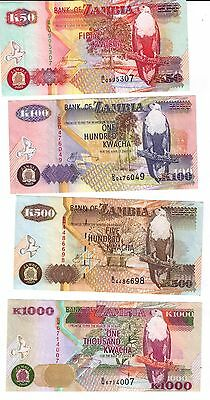 2003-Zambia--4 Diff. Notes -50-100-500-1000-Better Grade-Tdlr Notes