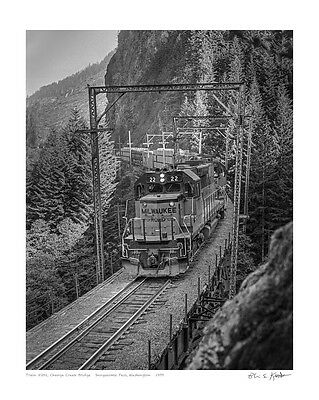 "ICONIC! Milwaukee Road in WA Cascades, 1979 16X20"" photo print by Kooistra"