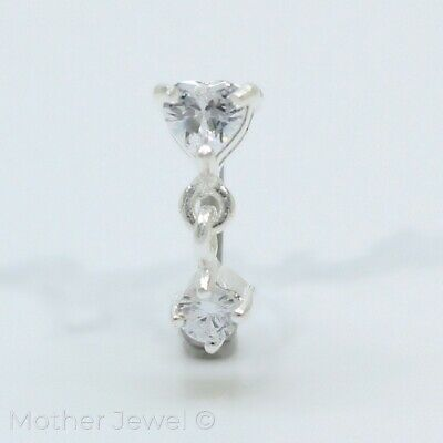 16G 925 Sterling Silver Dangling Simulated Diamond Eyebrow Surgical Steel Bar