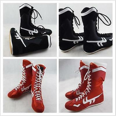 7714 Men Faux Leather Breathable High Top Boxing shoes wrestling training Boots