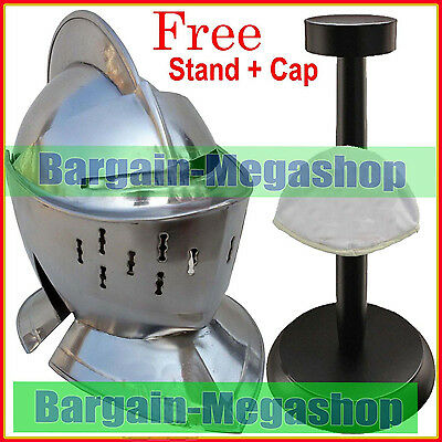 Knight Antique Helmet Replica Knight Crusader Armour w/ Free Cotton Cap + Stand