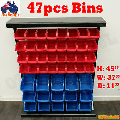 47pcs Bin Storage Rack Nuts Bolts Organizer Heavy Duty Stable Shelving Rack Tool