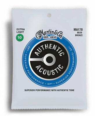 Martin Acoustic Guitar Strings Extra Light 80/20 Bronze Gauge 10-47 M170 *new*