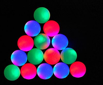 New 15-piece LED Flashing Light Up Blink Colorful Night Golf Balls Practice ball