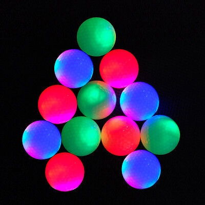 12-piece LED Flashing Light Up Blink Color Night Golf Balls (Mixed colors)
