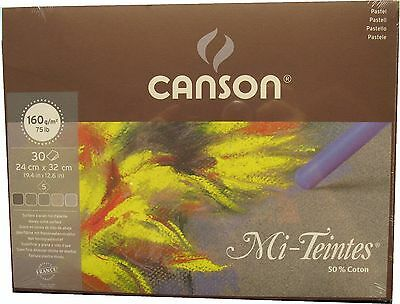 Canson Mi-Teintes Pastel Papers Grey tints 24cm x 32cm pad of 30 sheets