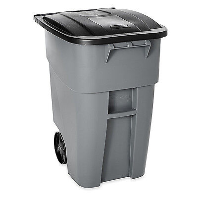 Mobile Gray Plastic Recycle Bin 50Gal W/ Lid Mobile Waste Trash Can Container