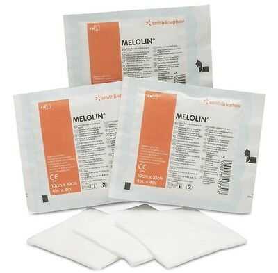 Melolin 10x10cm non adhesive Sterile dressing Wounds Burns Abrasions First aid