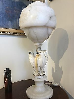 Antique Italian Alabaster Table Lamp With 3 Eagles