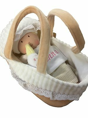 Personalised Imajo Bonikka Baby Rag Doll + Carry Cot/Moses Basket