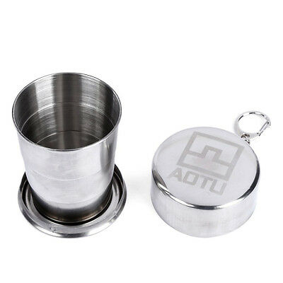 Telescopic Stainless Steel Folding Travel Cup With Buckle Equipment White F8I5