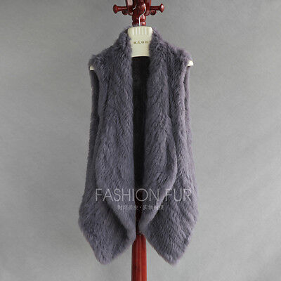 knitted rabbit fur vest free shipping  back short front long black brown gray