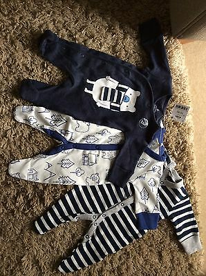 Next 3 Pack Sleepsuit Baby Boy First Size