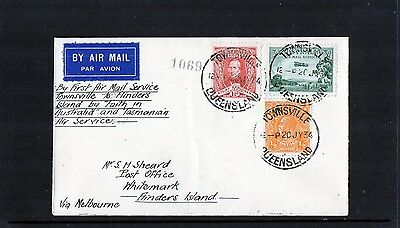 1934 Townsville To Flinders Island 1st Flight Cover, 3 Stamps, Scarce, Mint Cond
