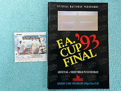 1993 - FA CUP FINAL PROGRAMME + MATCH TICKET - ARSENAL v SHEFFIELD WEDS