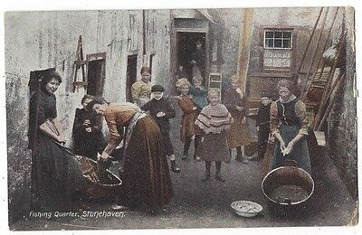 STONEHAVEN Fishing Quarter, Wrench Series Postcard, Postally Used 1908