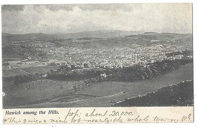 HAWICK General view Among the Hills, Old Postcard Postally Used 1904