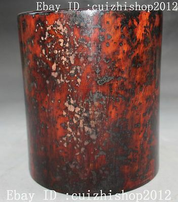 "6"" Old Curo Chinese Dynasty Palace Huang Hua Li Wood Round Brush Pot pencil vase"