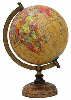 Decorative Rotating Orange Ocean Globe Geography World Table Decor Earth 13'