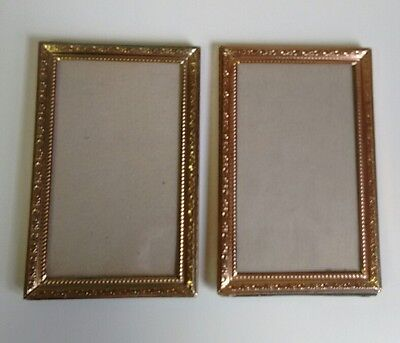 vintage gold tone metal 3 x 5 frames set of 2