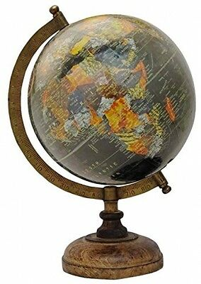 13' Decorative Rotating Globe Black Ocean World Geography Earth Table Decor