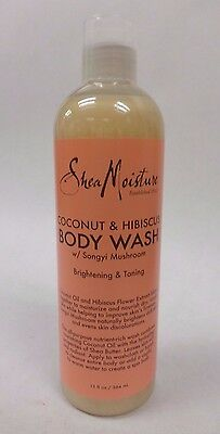 Shea Moisture Coconut Hibiscus Body Wash with Songyi Mushroom 13 fl oz New