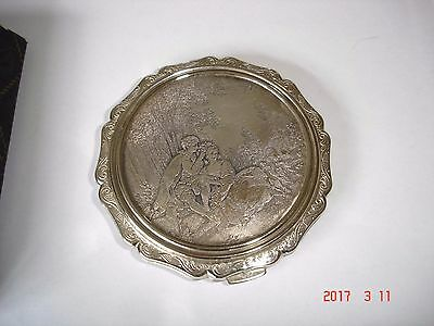 Vintage Stratton Silver Plated Lovers Lithograph Powder Compact