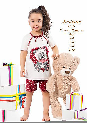 Girls Pyjamas Shorts & Short sleeved 93% cotton  Pjs 4 to 10 Years