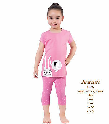 Girl's Pyjamas short sleeve skinny cropped  93% cotton pink Pjs 5 to 12 Years
