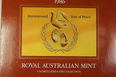 1986 Australian Mint Set 8 Brilliant Uncirculated Coins Year of Peace OGP