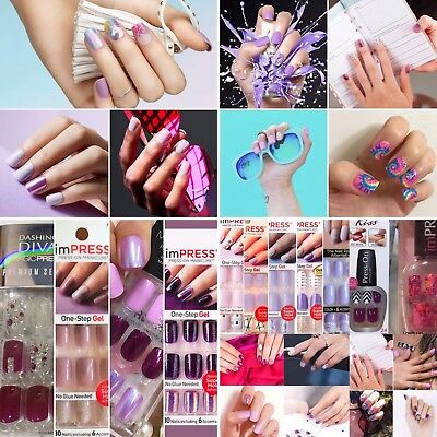 New Kiss Impress Press on Nails Short Square Purple Lilac Plum Rare Designs