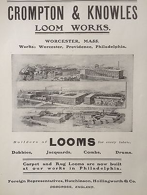 Antique 1904 Ad(F12)~Crompton & Knowles Textile Loom Works, Worcester, Mass.