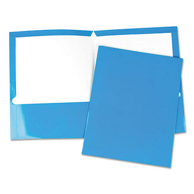 UNIVERSAL Laminated Two-Pocket Folder Cardboard Paper Blue 11 x 8 1/2 25/Box
