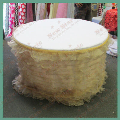 Table Skirt Ruffles Organza For 96 inches Round Table With Velcro Gold