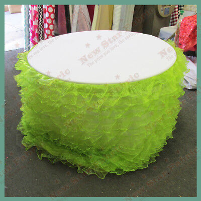 Table Skirt Ruffles Organza For 96 inches Round Table With Velcro Lime Green