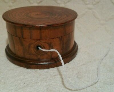 Antique Turned Olive Wood String Box