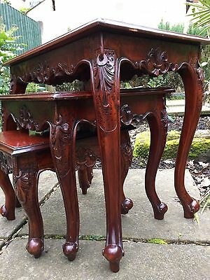 Vintage Chinese Nest of Tables - Hard Wood Heavy