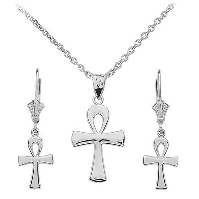 14k White Gold Ancient Egyptian Ankh Cross Pendant Necklace & Matching Earrings
