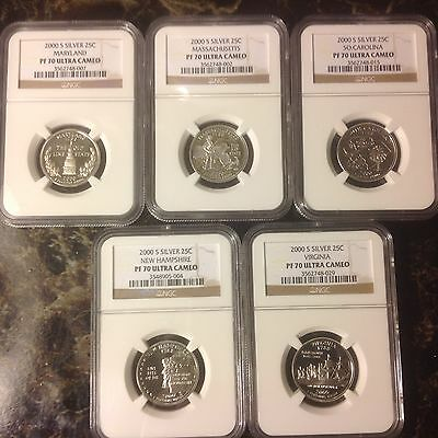 2000 S Silver State Quarter 5 Coin Set Ngc Proof 70 Ultra Cameo