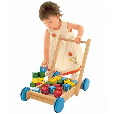Wooden Baby Walker with Number & Alphabet Blocks, Kids Toy Wood Play Set