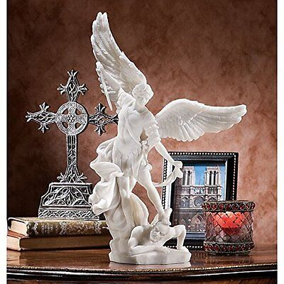 Michael the Archangel Statue Bonded Marble Angel Statue Hand Cast Collectible