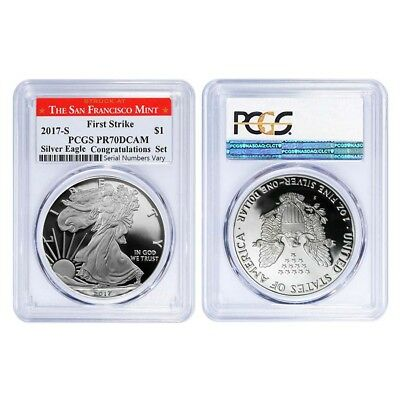 PRESALE - Lot of 2 - 2017-S 1 oz Proof Silver American Eagle PCGS PF 70 DCAM Fir