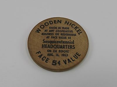 Vintage WOODEN NICKEL Sesquicentennial Headquarters Mendon New York NY 1963